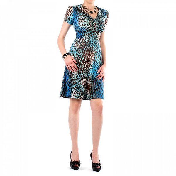 Dámske modro-hnedé leopardie šaty Fifilles