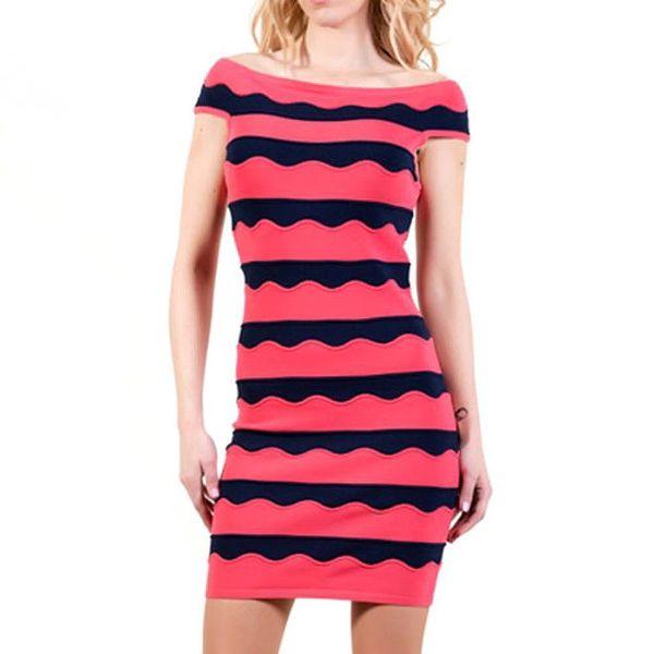 Dámské růžovo-černé upnuté šaty Barbarella