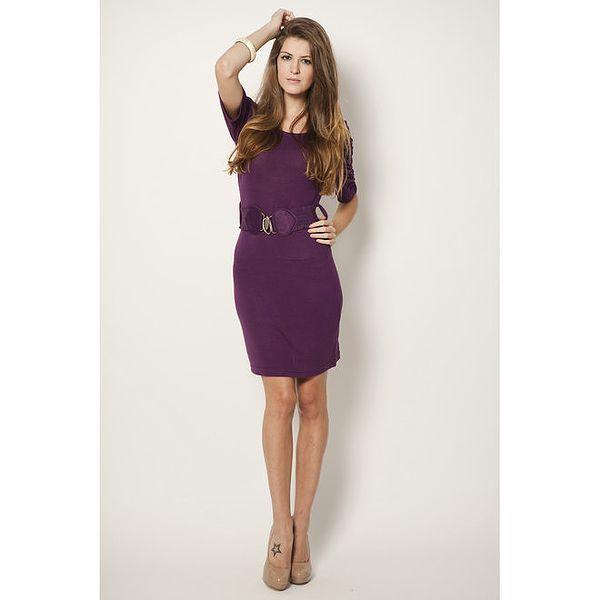 Dámské fialové šaty s páskem Tantra