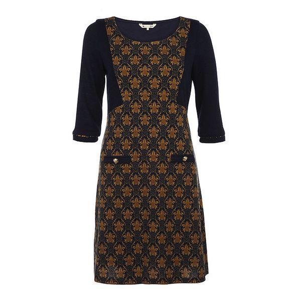 Dámské tmavě modré šaty s 3/4 rukávem a vzorem Yumi
