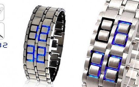 UNIKÁTNÍ LED hodinky SAMURAJ ve stříbrném provedení s LED zobrazením času a data za 199 Kč - přivítejte budoucnost!