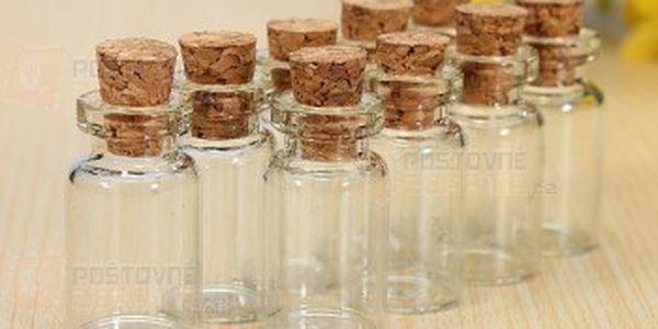 Sada 10 ks malých skleněných lahviček s korkovým uzavíráním a poštovné ZDARMA! - 17910742