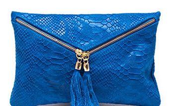 Dámské zářivě modré hadí psaníčko Roberta Minelli s třásněmi