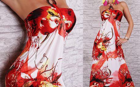 Letní šaty dlouhé červené květy ST111 Queen O.F.