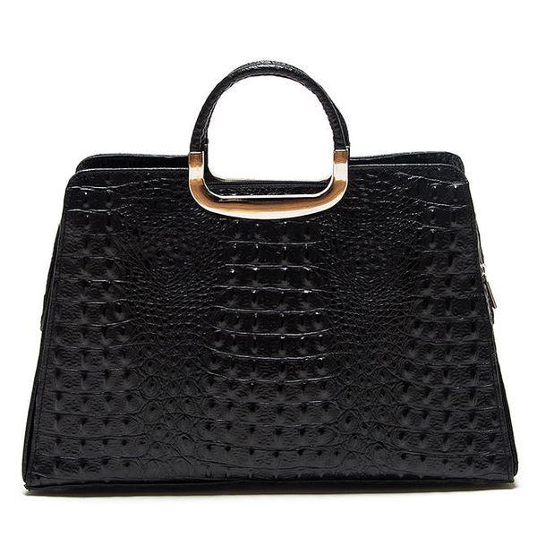 Dámská černá kabelka s krokodýlím vzorem Roberta Minelli