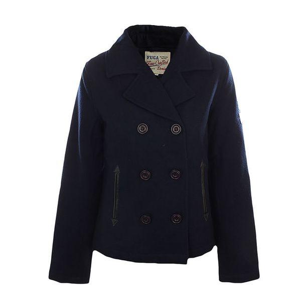 Dámský tmavě modrý dvouřadý kabát Fuga