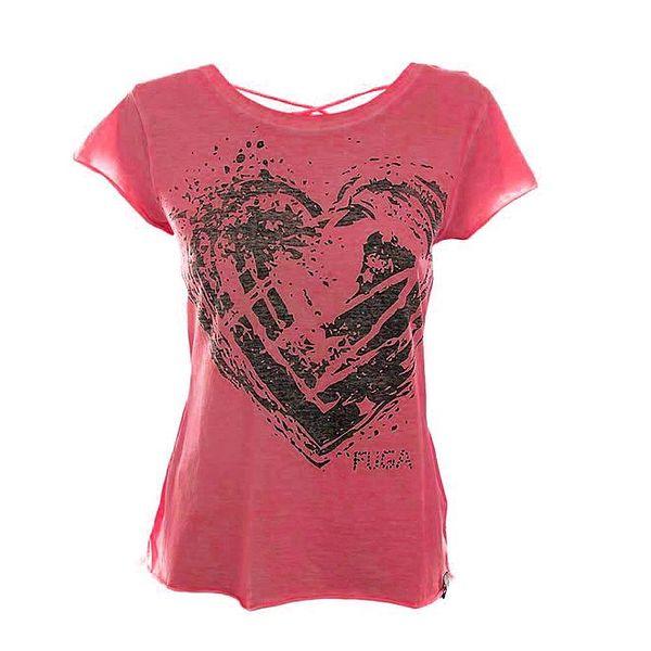 Dámské tmavě růžové tričko se šněrováním na zádech Fuga
