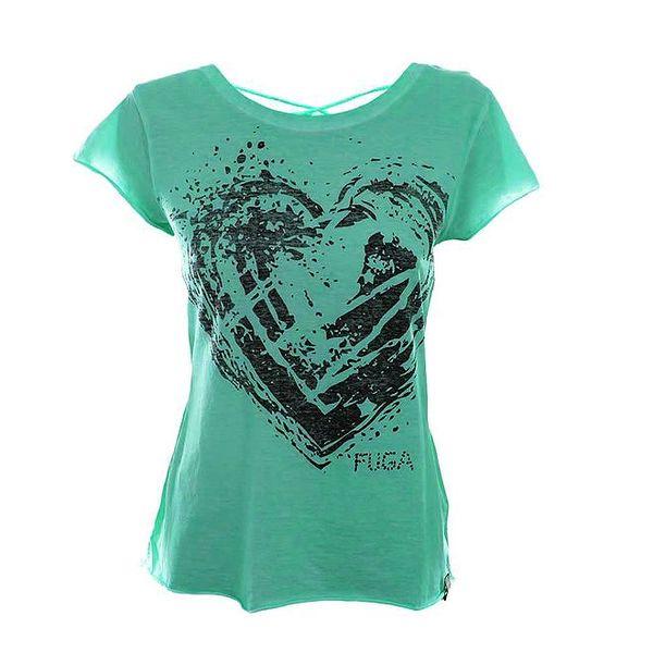 Dámské zelené tričko se šněrováním na zádech Fuga