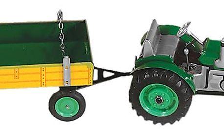 Originální plechová hračka zelený traktor ZETOR s valníkem KOVAP 0395