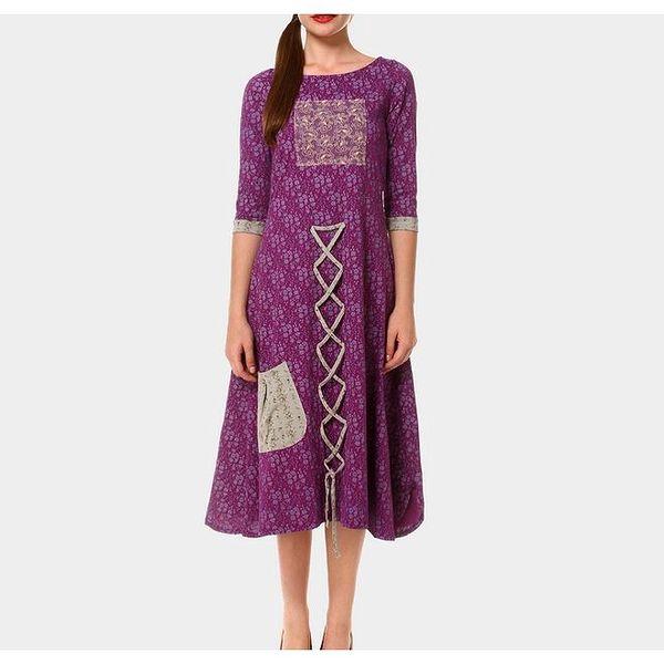 Dámské fialové šaty s proplétáním Piedra and Agua
