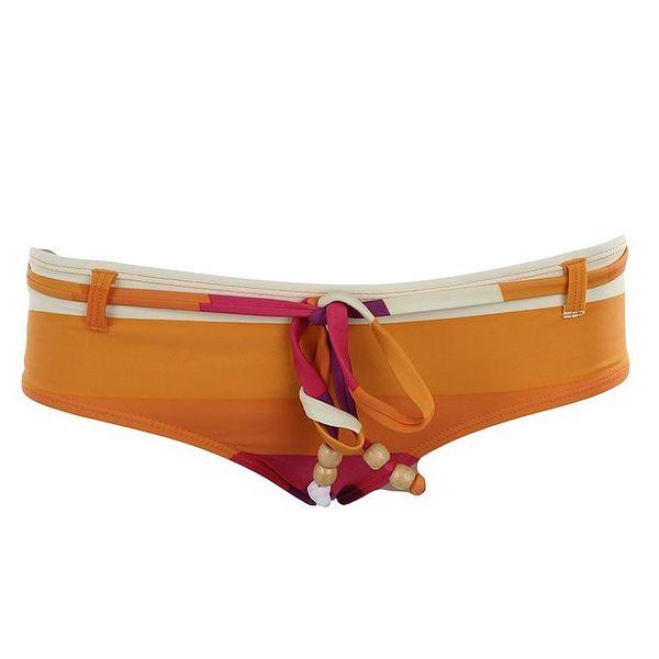 Dámské oranžovo-fialové proužkované plavkové kalhotky Fundango