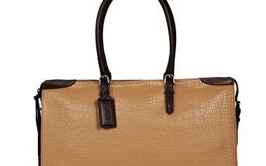 Dámská obdélníková béžovo-hnědá kabelka POON Bags