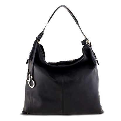 Dámská černá kabelka s ozdobnými kroužky Roberto Buono