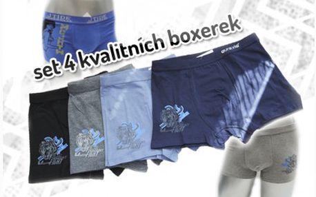 Kvalitní set pánských boxerek z bavlny zaručující pohodlí při nošení. Čtyři kusy boxerek za 299 Kč včetně doručení po ČR.
