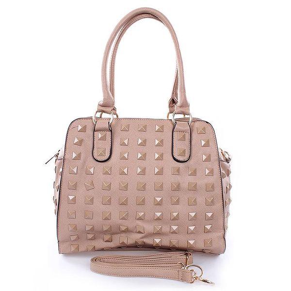 Dámská béžová kabelka s pyramidkami London Fashion