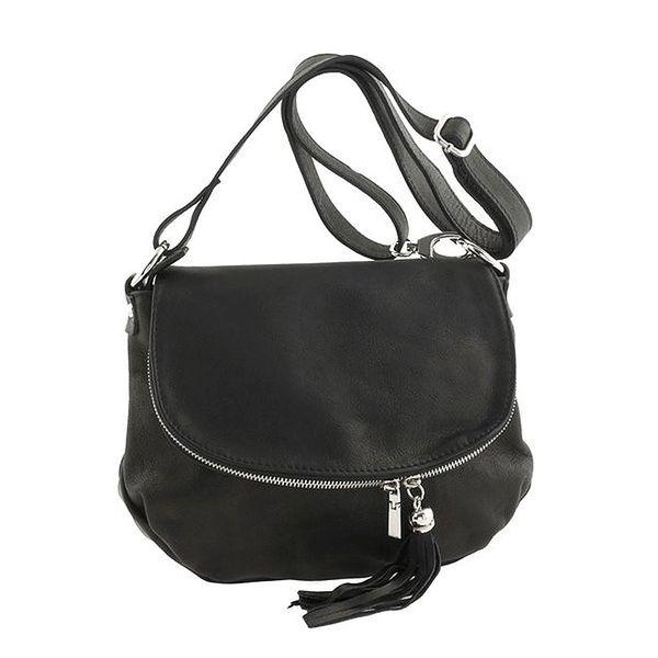 Dámská černá kožená kabelka přes rameno se střapcem Ore 10