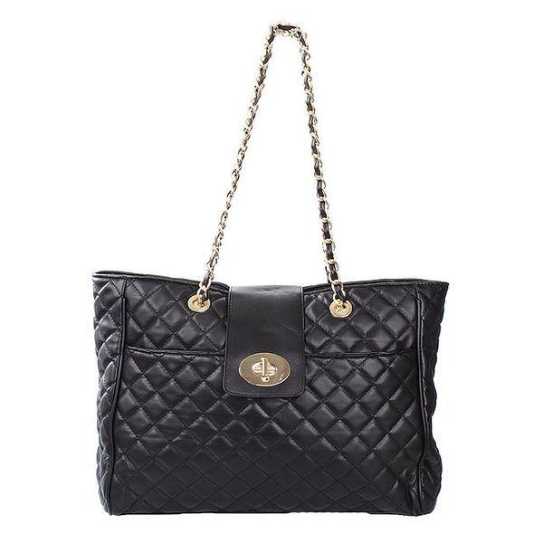 Dámská prošívaná kabelka v černé barvě London Fashion