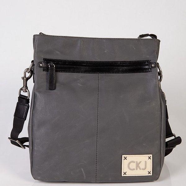 Pánská šedá kožená taška přes rameno Calvin Klein