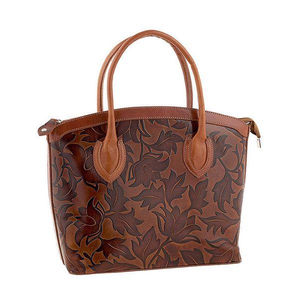 Dámská hnědá kožená kabelka s lístečky Ore 10