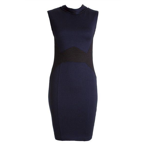 Dámské tmavě modré šaty s černými vsadkami JDC London