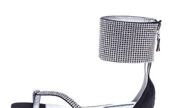 Dámské černé sandálky s kamínky Roberto Botella