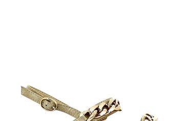 Dámské třpytivé sandálky se zlatým řetězem Shoes and the City