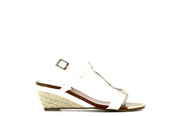 Dámské bílé sandálky na nízkém klínku Shoes and the City