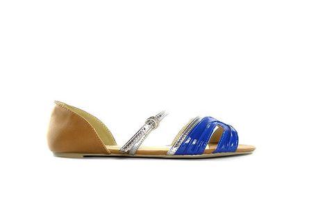 Dámské velbloudí sandálky s modro-stříbrnými pásky Shoes in the City