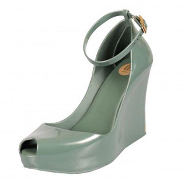 Dámské zelené boty na klínovém podpatku Melissa