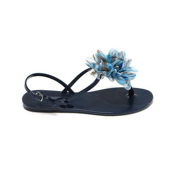Dámské tmavě modré sandálky s azurovou látkovou květinou Favolla