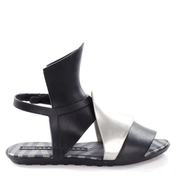 Dámské černo-stříbrné sandálky Melissa