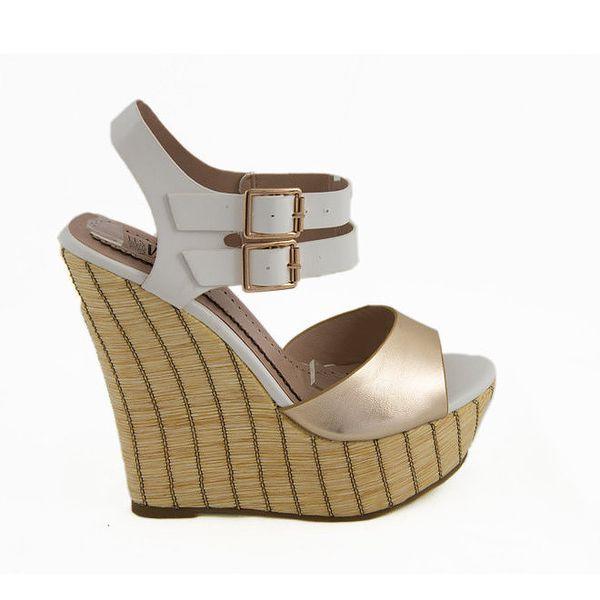 Dámské bílo-zlaté sandálky na klínku Vanessa