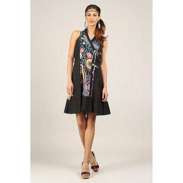 Dámské černé šaty s vícebarevným vzorem Ziva