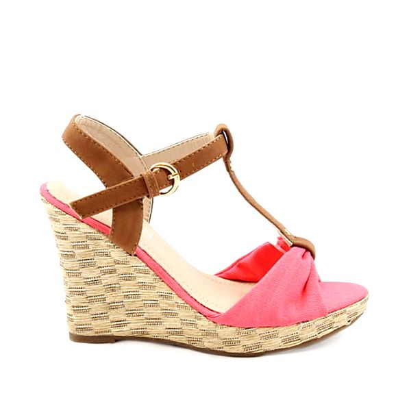 Dámské červené sandály na klínu Bless