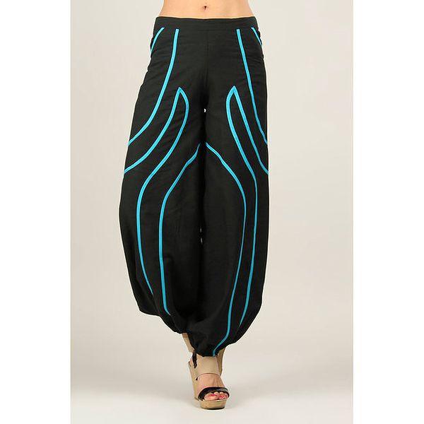 Dámské černé kalhoty s tyrkysovými proužky Ziva
