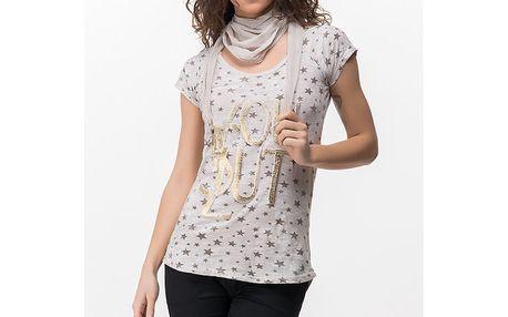 Dámské tričko s hvězdičkami a šátkem Sixie