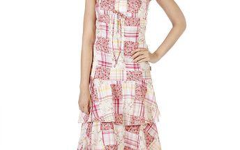 Dámské smetanovo-růžové šaty s volánovou sukní Savage Culture