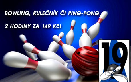 2 hod. zábavy: BOWLING a KULEČNÍK či PING-PONG s možností prodloužení hry! Neomezený počet hráčů na dráhu! Pobavte se s přáteli ve známém a oblíbeném Bowling Clubu 19 naproti O2 aréně!!!!!!