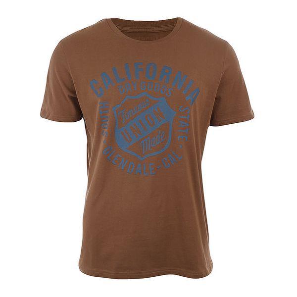 Pánské hnědé triko s modrým potiskem Timeout