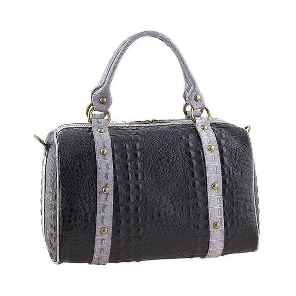 Dámská kožená černo-šedá kabelka Valentina Italy