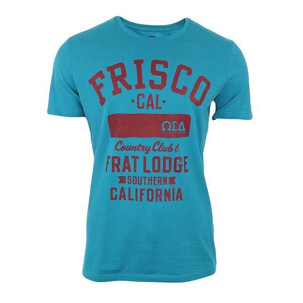 Pánské tyrkysové triko s červeným potiskem Timeout