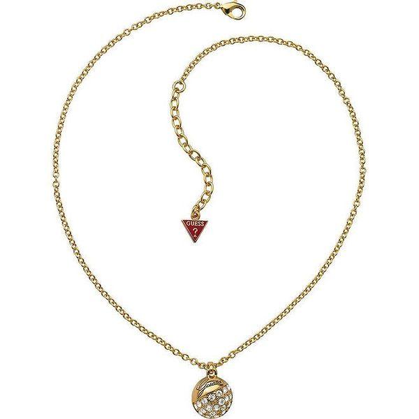 Dámský náhrdelník s kulatým přívěskem a kamínky Guess