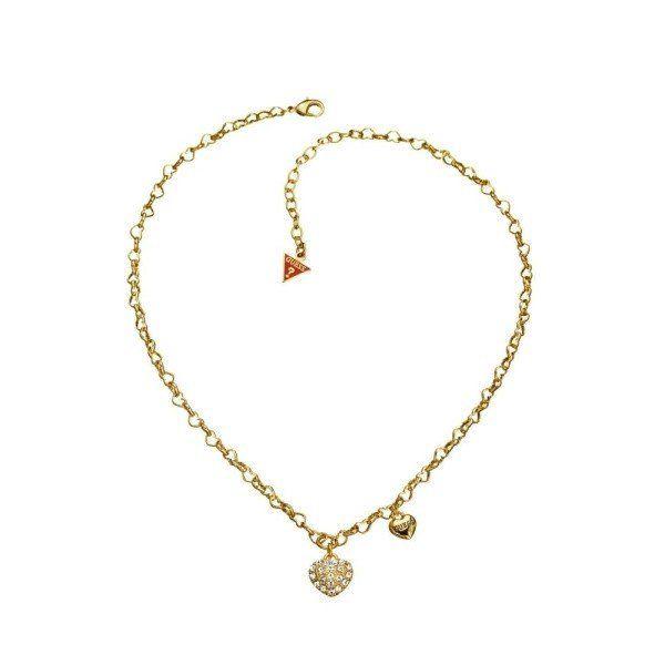 Dámský zlatý kovový náhrdelník s přívěsky srdce Guess