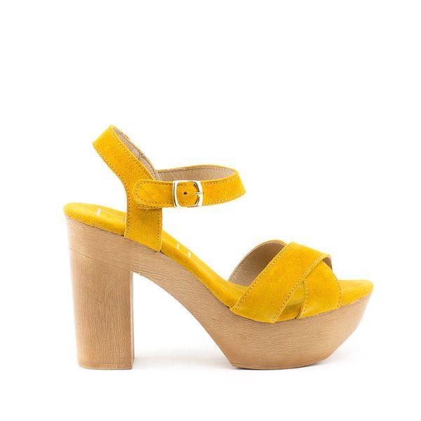 Dámské žluté střevíčky na vysokém podpatku a bytelné platformě MISU