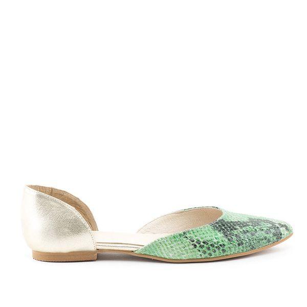 Dámské boty se zelenou hadí špičkou a platinovou patou MISU