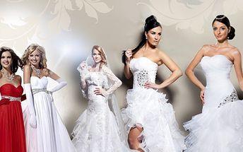 Splňte si svůj dětský sen stát se princeznou! Obrovská nabídka společenských a svatebních šatů se slevou 50 % při nákupu voucheru v hodnotě 350 Kč nebo 500 Kč! Buďte neodolatelná v den D!