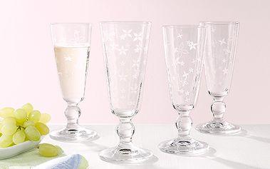 Skleničky na sekt z kvalitního křišťálového skla, 4 ks