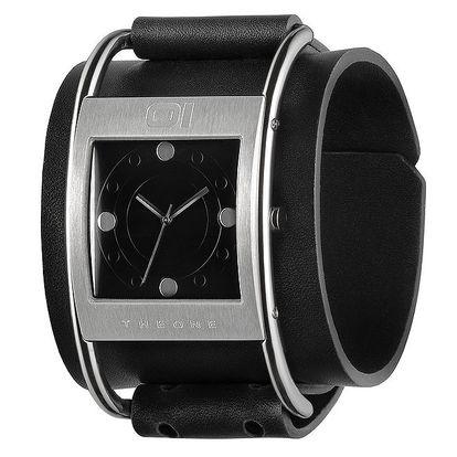 Pánské černé náramkové hodinky s hranatým ciferníkem The One