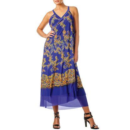 Dámská fialová zavinovací sukně s kvítky Charmante