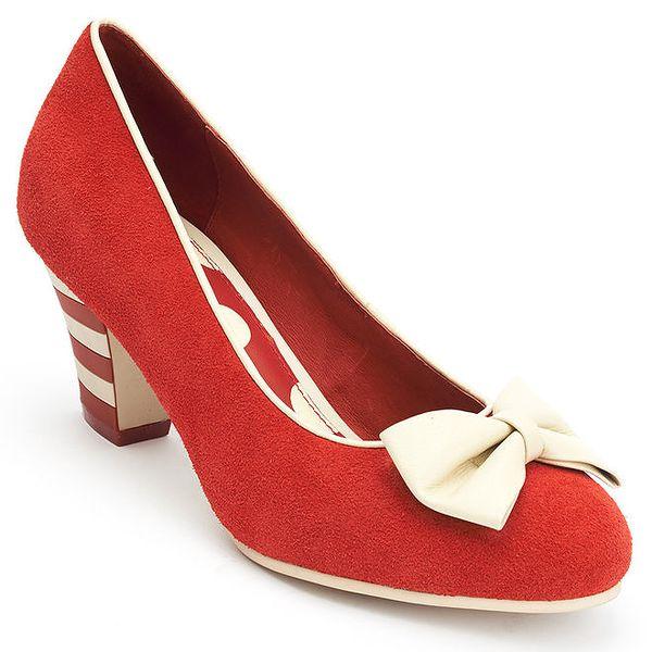 Dámské cihlově červené lodičky s bílou mašlí Lola Ramona